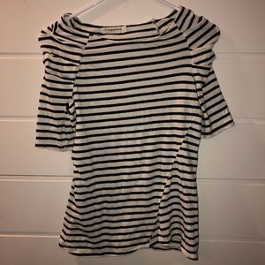 Anthro | Stripped shirt with should rutching S